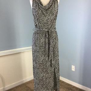 Ellen Tracy Black White Stretch maxi Dress S